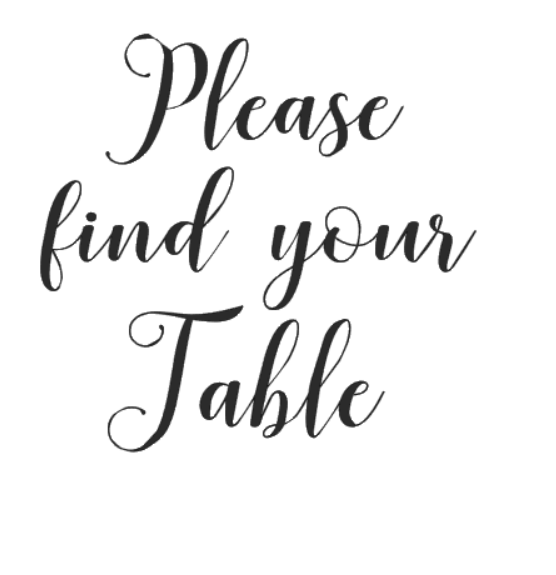 """""""please find your table"""" 14x15 cm"""