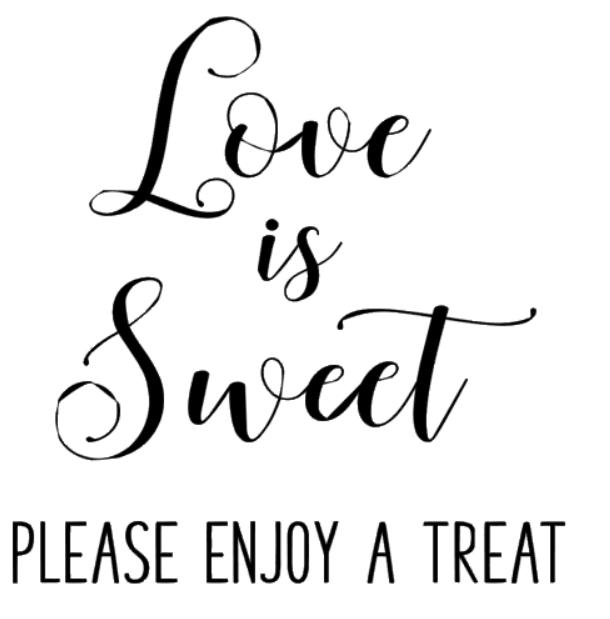 """Love is sweet"" vinyltryck 19x19 cm"