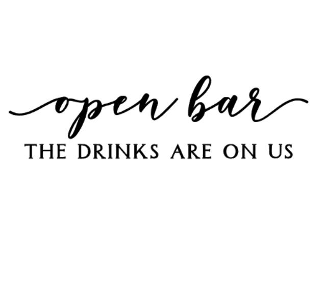 """""""Open bar"""" vinyltryck 5x18 cm"""