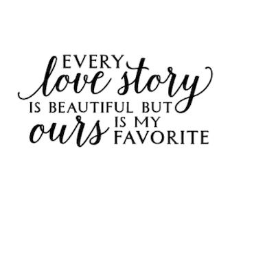 """love story"" vinyltryck 9x20 cm"