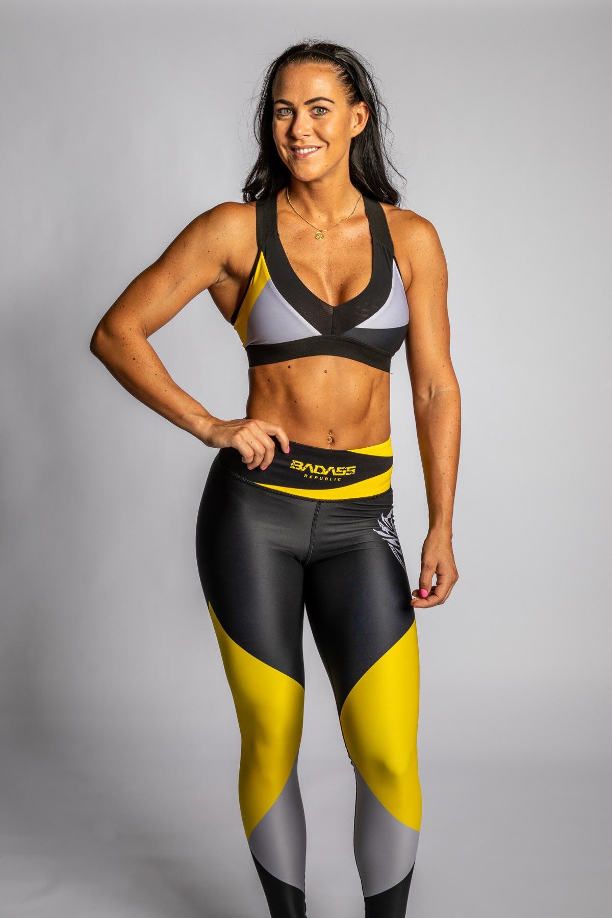 gul grå svart v-ringad vadderad sport-bh