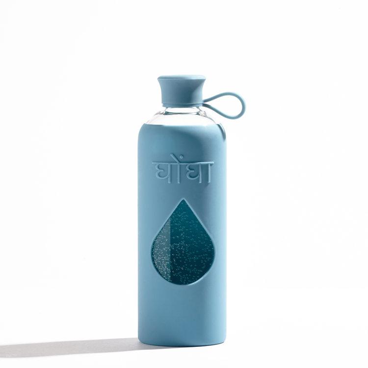 Ghongha Vattenflaska av glas Azure