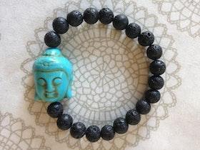 Armband Lavasten Turkos Buddha