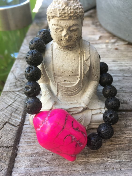 Armband Lavasten Buddha Rosa