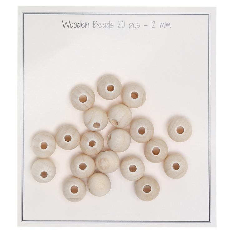 Träpärlor 20st - 12mm