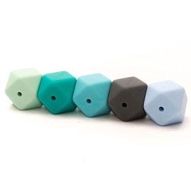 Silikonpärlor hexagon - turkos