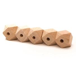 Träpärlor - hexagon - 14mm - 5stk