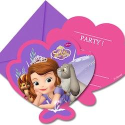 Inbjudningskort 6 pack Prinsessan Sofia