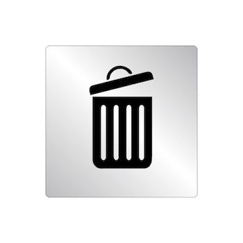 Skylt Trash