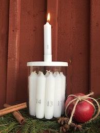 Ljusburk med vitt lock