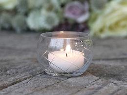 Rundad Ljuslykta till värmeljus med slipat glas