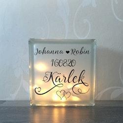 Glasblock Kärlek med namn och datum