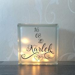 Glasblock Kärlek med datum