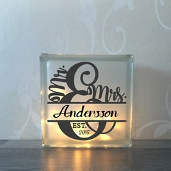 Glasblock Bröllop monogram