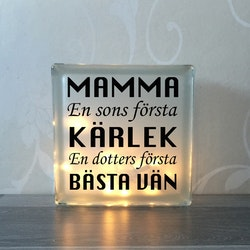 Glasblock Mamma hjälte & kärlek