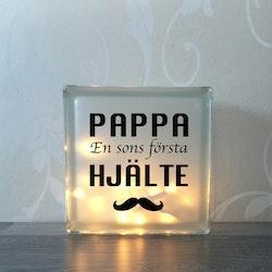 Glasblock Pappa hjälte