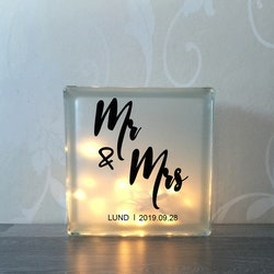 Glasblock Mr & Mrs
