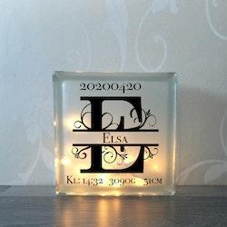 Glasblock Monogram med födelseinfo