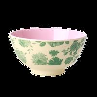 RICE - Skål gröna blommor medium