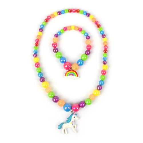 Halsband och armbandsset - Enhörning och Regnbåge