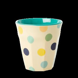 RICE - Mugg Prickar blå grön gul Small