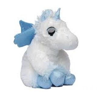 Vit/Blå enhörning med vingar