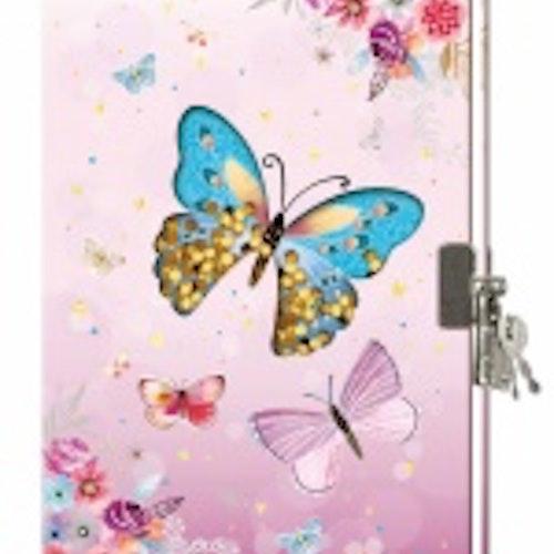 Dagbok med lås - Fjäril