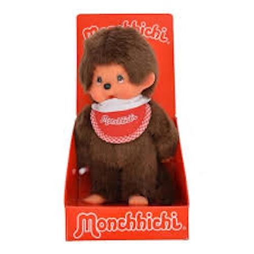 Monchhichi - Klassisk pojke röd haklapp