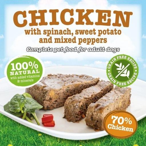 Kyckling med spenat, sötpotatis och paprika 390G