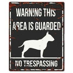 Warning skylt svart bull terrier