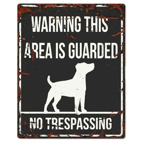 Warning skylt svart jack russel