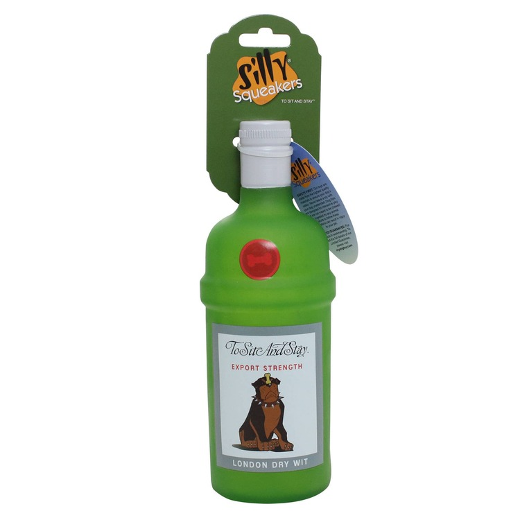 Silly Squeaker Liquor Bottle To Sit and Stay