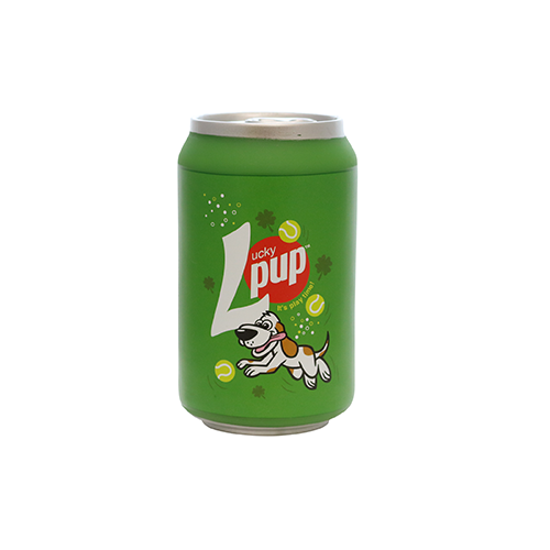 Silly Squeaker Soda Can Lucky Pup