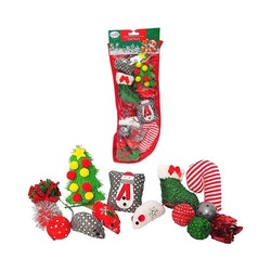 Midlee Cat Christmas Stocking with Toys - 14 Toys