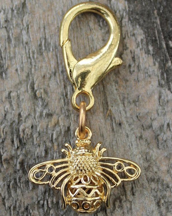 Busy Bee Gold Filigree Dog Collar Charm