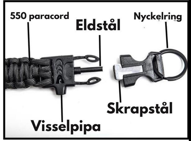 Nyckelband med tändstål och visselpipa