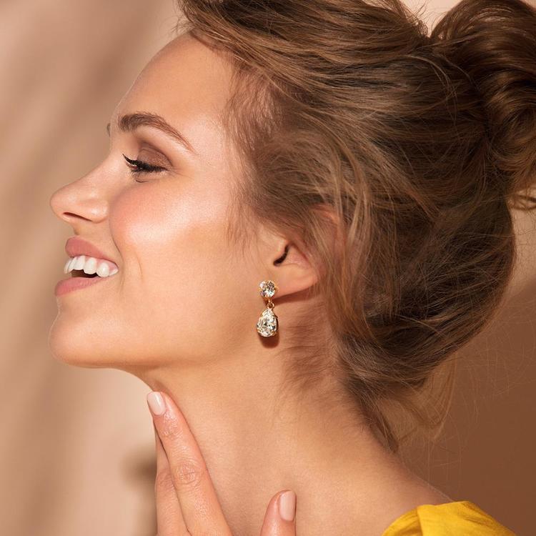 Mini Drop Earrings / Crystal