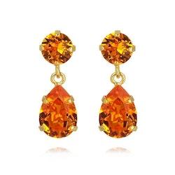 Mini Drop Earrings Gold / Tangerine