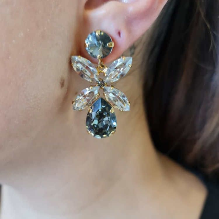 Dione Earrings  Black Dimond/ Crystal