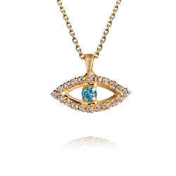 Greek Eye Necklace - Crystal Aquamarine