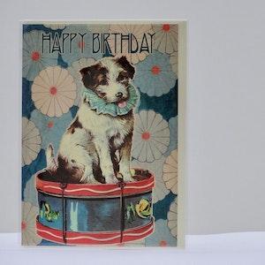 Födelsedagskort Hund på trumma