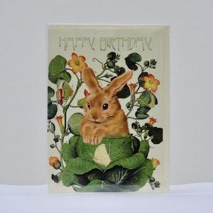 Födelsedagskort Kanin i trädgård