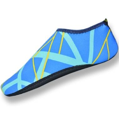 Badskor (blå & gul)