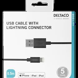 Deltaco lightningkabel till iPad, iPhone och iPod, 0.5m, MFi