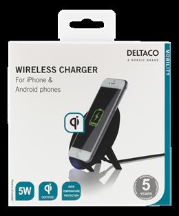 DELTACO Trådlös Laddare för iPhone och Android, 5W, QI-certifierad,