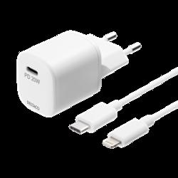 DELTACO USB-C PD väggladdare med avtagbar USB-C till Lightningkabel, 1 m, vit