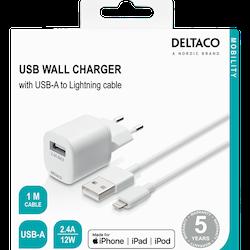 DELTACO väggladdare med USB-A till Lightningkabel, 1m, vit