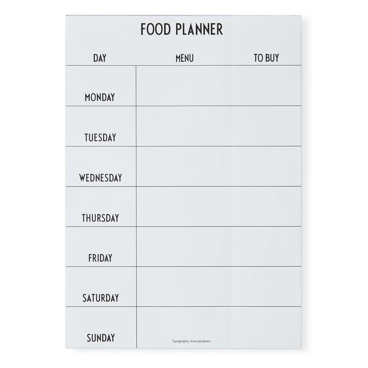 """Design Letters  """"Food planner"""", hvit"""