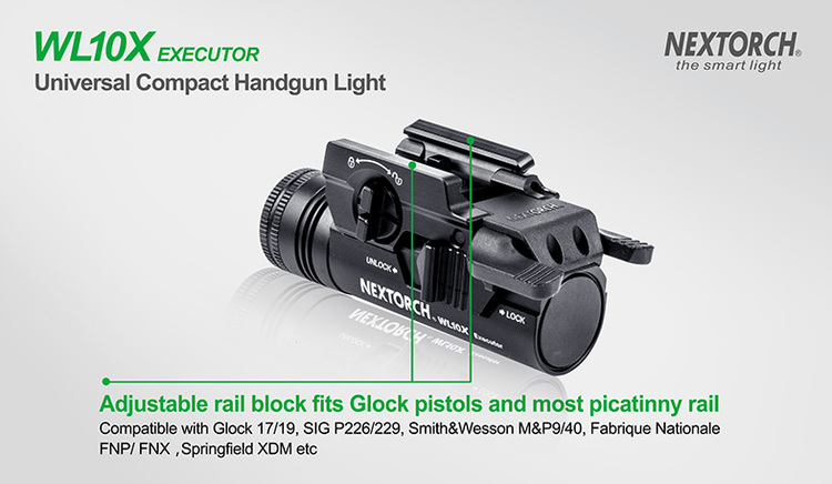 NEXTORCH WL10X Universal Handgun Light - Vapenlampa 230LM