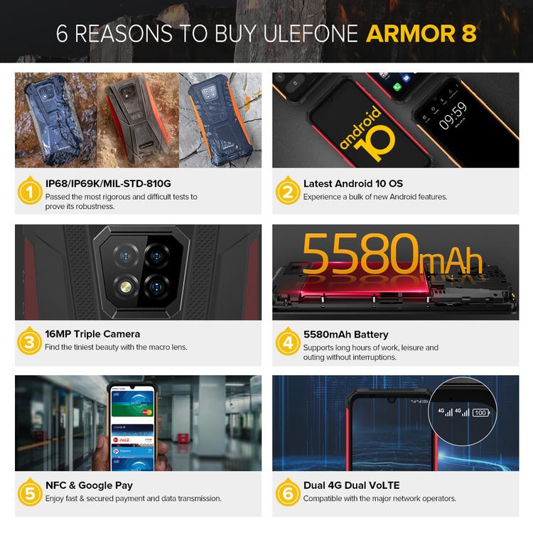 ULEFONE ARMOR 8 Svart - Stöttålig Smartphone